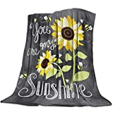 Cozy Warm Lightweight Microfiber Throw Blankets, Soft Reversible Flannel Fleece Bed Throw You Are My Sunshine Bloom Sunflower Luxury Fuzzy Blankets for Adults/Girls/Kids/Boys/Dogs/Couch, 50'W x 80'L