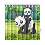 LIANGWE Decoración para el hogar Cortina de baño Panda Baby Panda Forest Tela de poliéster Cortina de Ducha Impermeable para baño, Cortinas de Ducha de 72 x 72 Pulgadas Ganchos incluidos