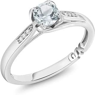 10K White Gold 0.44 Ct Round Sky Blue Aquamarine and Diamond Engagement Ring