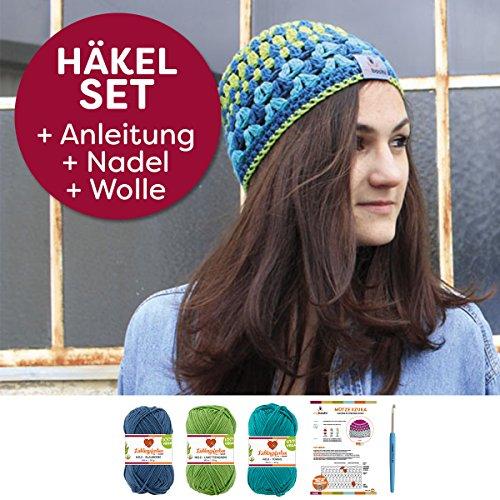myboshi Häkel-Set Mütze Iizuka | aus No.2 | Anleitung + Wolle | mit passender Häkelnadel | Sommermütze | Blaubeere Limette Türkis