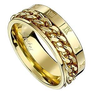 Piersando Herren Band Ring Ketten Style Spinner mit Römischen Zeichen Herrenring Edelstahlring Bandring Größe 73 (23.2)   Gold