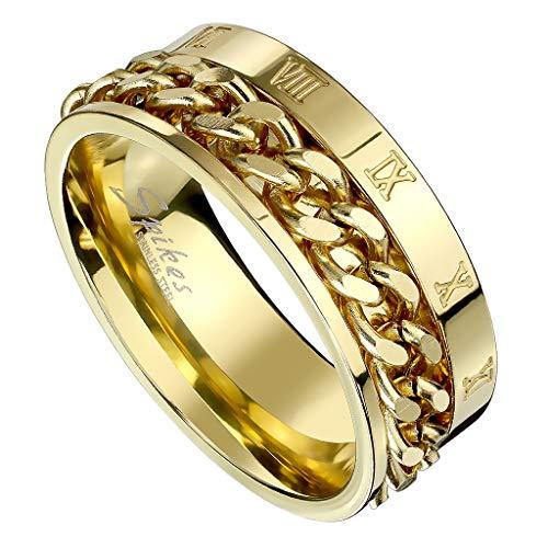 Piersando Herren Band Ring Ketten Style Spinner mit Römischen Zeichen Herrenring Edelstahlring Bandring Größe 68 (21.6) | Gold