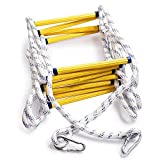 Aoneky Escape Rope Ladder - Emergency Fire Escape Ladders - Soft Safety Ladder with Carabiners for Kids and Adults Escape from Window and Balcony (2 Stories, 16ft)