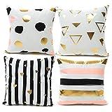 YNester - Fundas de almohada de franela, doradas, decorativas, con diseño de labios y amor, fundas de almohada de 45 x 45 cm, color bronceado, para sofá, cama, sillón o regalo