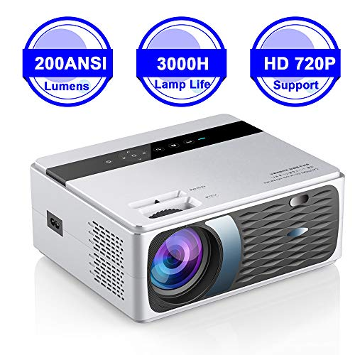 LQQZZZ Proyector Casero, Full HD 1080P Proyector 4K 8000 Lúmenes Puerto del Teléfono Móvil WiFi Misma Pantalla De Cine Reproductor Multimedia Soporte HDMI VGA AV USB