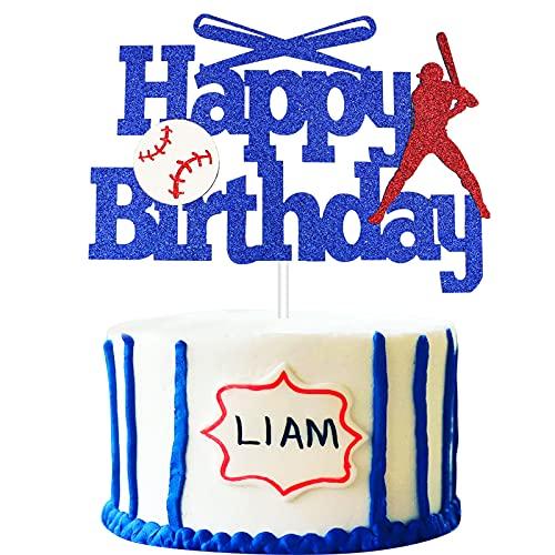 JUUFLA Baseball Cake Topper, Happy Birthday Baseball Cake Decorations for Boys Men Kids, Baseball Softball Player Sports Theme Party Supplies Cake Decor for Baby Shower Wedding (Blue Glitter)
