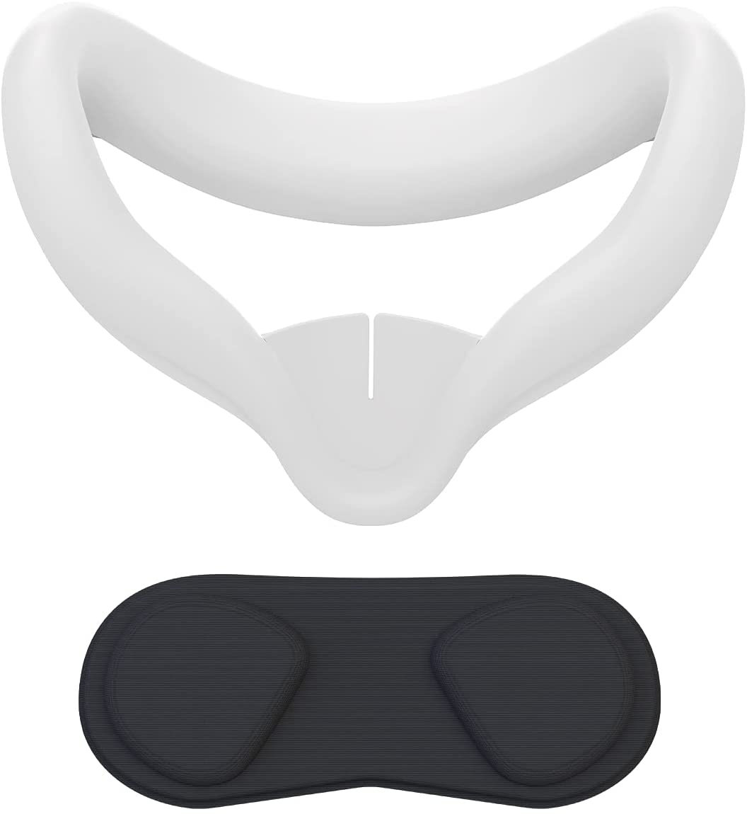 VR Face Cover and Lens Cover for Oculus Quest 2, Sweatproof Silicone Face Pad Mask & Face Cushion for Oculus Quest 2 VR Headset (Gray)