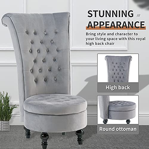 Living Room Chair Velvet High Back Accent Bedroom Chair Tufted Royal Throne Retro Armless Lounge Chair Upholstered Chairs w/Storage for Women Girls (Grey)