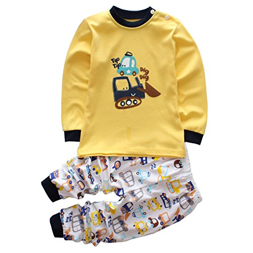 Toddler Boy Clothes Sets Baby Outfits Infant Pajamas Long Sleeve Shirt Pants Cars Yellow 24 Months 2T