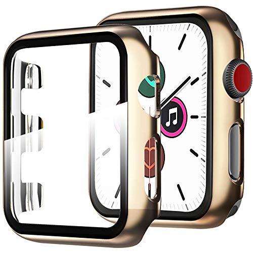 Miimall Funda Compatible con Apple Watch Series 5/4 40mm Carcasa Protector Cristal, 2 en 1 PC Case + Vidrio Templado Anti-Choque Protector Pantalla para iWatch Series 5/4 40mm - Oro