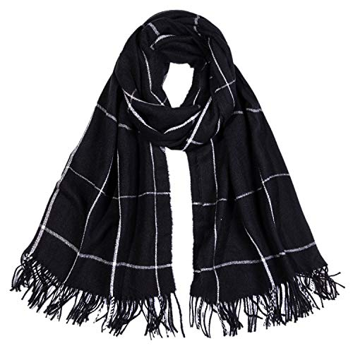 SOJOS Plaid Scarf Warm Soft Women#039s Fashion Long Shawl Grid Winter Warm Lattice Large Scarves SC329 with Black