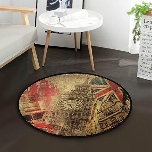 Mnsruu Tapis rond vintage Big Ben avec drapeau britannique Londres Angleterre pour salon chambre à coucher 92 cm de diamètre