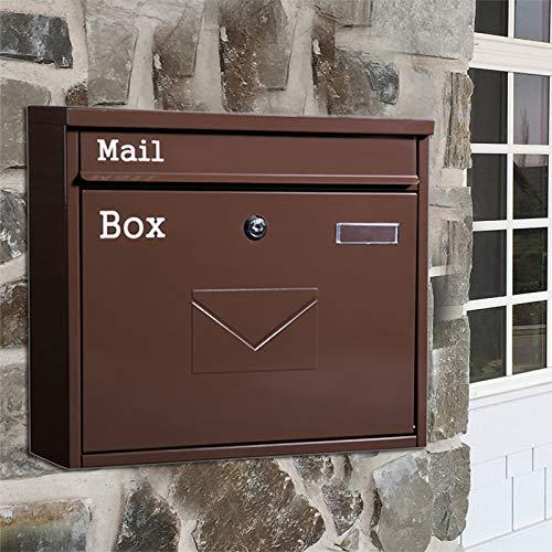 FYZS Caja de Letras bloqueables |Caja de Correos |Buzón de Correo con Cubierta Buzón de Correo montado en la Pared al Aire Libre |American Country Style Mailbox 36 * 10.5 * 32 cm (Color : Brown)