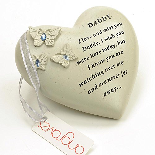 Angraves Special Daddy Butterfly Gem Heart Graveside Memorial Ornament Plaque