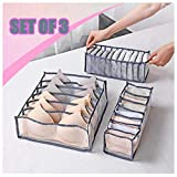 COLIBYOU Closet Underwear Organizer Drawer Divider, Bras Lingerie Panties Storage Organizers Set of 3 includes 6+7+11 Cell Soft Mesh Bins, Better for Sorting Storage lingerie, Underpants, Socks