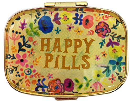 AmyZone Metal Pill Organizer Travel Friendly Portable Compact Pill Box Pill Case to Hold Vitamins/Tylenol/Fish Oil/Supplements/Meds/Tablet for Purse/Pocket(Happy Pills))