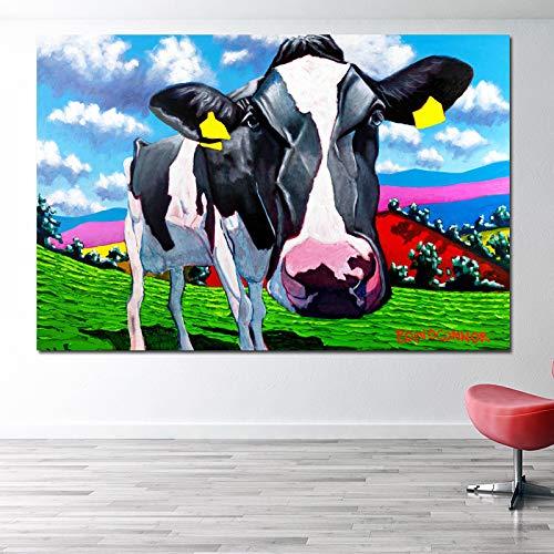 tzxdbh afdrukken en affiches groot formaat dierlijke olieverfschilderij koe in grasland muur foto's gedrukt op canvas voor woonkamer Decor unframed-in schilderen & kalligrafie van 30X45CM No Frame