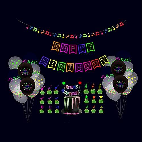 DELITLS Balloon Kit Home Neon Cake Topper Glow Hanging Decor Happy Birthday Banner Hat(43pcs)