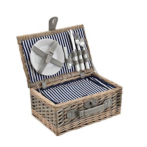 casa.pro Picknickkorb für 2 Personen Picknick-Set mit Kühltasche inkl. Geschirr Besteck Korkenzieher und Gläser Blau-Weiß