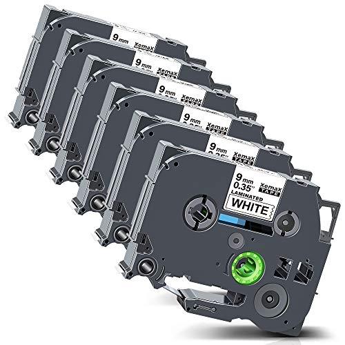 Xemax kompatibel Etikettenband Ersatz für Brother P-Touch Tze-221 TZ-221 Laminiert Kassette Bänder für PT-H105 PT-E100 PT-D200VP D400VP PT-H110 PT-D210 PT-1000, Schwarz auf weiß, 9mm x 8m, 6er-Pack