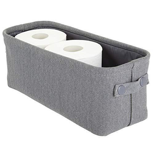 mDesign Aufbewahrungskorb mit Innenbeschichtung und Strukturdesign – ideal zur Kosmetikaufbewahrung – praktischer Badezimmer Organizer aus Baumwolle mit Henkeln – dunkelgrau