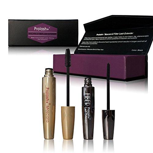 Prolash Mascara & Fiber Lash Extender (Booster) Set für Wimpernverlängerung Wimpernverdichtung für volle Wimpern