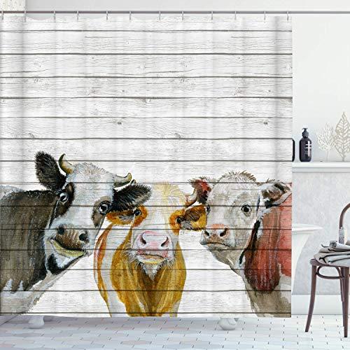 Irongarden Duschvorhang, Kuh auf rustikalem Holzbrett, buntes Bauernhaus-Tiermuster, Malerei, Kunst, Badezimmer, Gardinen, Dekor, Polyester-Stoff, schnell trocknend, 183 x 183 cm