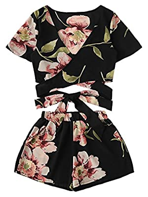 SweatyRocks Women's 2 Piece Boho Floral Print Crop Cami Top with Shorts Set Black_Flower Medium