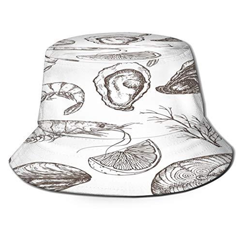PUIO Sombrero de Pesca,Pescado A La Plancha Camarones Ostra Y Limón Mytilus,Senderismo para Hombres y Mujeres al Aire Libre Sombrero de Cubo Sombrero para el Sol