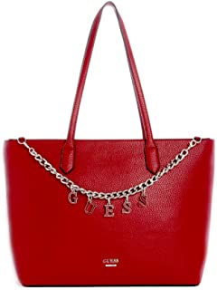 Guess Women's Logo Chain Factory Large Tote Hand-Bag/Shoulder-Bag, Faux-Leather, (PE726125) - Shapiro