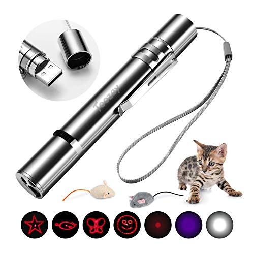 Toozey LED Pointer Katzen Hund Spielzeug Haustier LED Light Licht Pointer mit USB Wiederaufladbar, Bonus Zwei kleine Mäuse Spielzeug