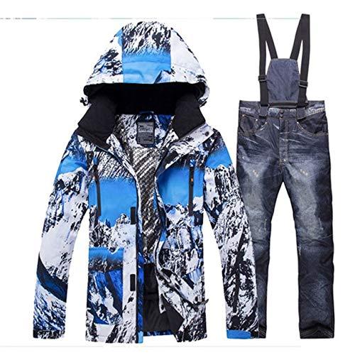 LJYNB Deportes al aire libre Hombres Traje de esquí Hombre Impermeable Hombre cálido Chaqueta y pantalones de nieve Invierno Esquí y snowboard Conjunto de ropa Chaqueta XL2 pantalones de vaquero