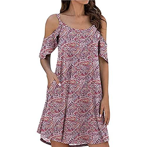 Liably Vestido de mujer Tie-Dye sin tirantes, con volantes, manga corta, vestido de verano, moderno, multicolor, vestido suelto Y2K rojo S