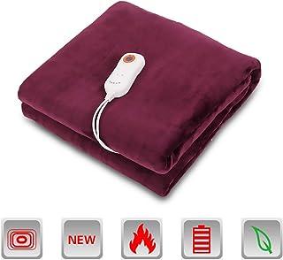 Manta eléctrica, manta calefactora grande con 9 temperaturas ajustables de calentamiento rápido y manta eléctrica lavable a máquina para sofá cama,160×120cm-Purple
