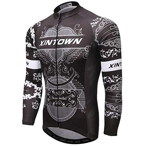 Yu$iOne Herbst Fahrrad Langarmbluse, Hygroskopisch Und SchweißFreisetzende Fahrradbekleidung FüR MäNner Sportbekleidung,09,XXXL