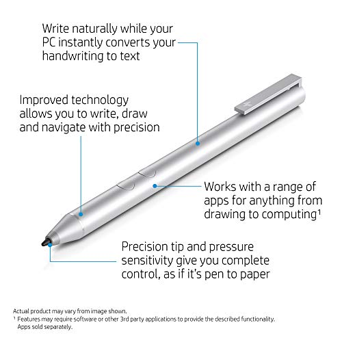 HP Pen (1MR94AA) Digitaler Eingabestift (2 programmierbare Tasten, Bluetooth, AAAA Batterie) silber