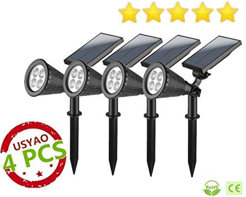 USYAO Spotlight Upgraded 4 LED 200 Lumen Sun-Powered Spot Light Integrated Panel and Light, Solar Rechargeable Waterproof Black Color, with Adjustable Angle and Bright Illumination Pack of 4