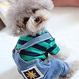 SEHOOロンパース 犬の服 つなぎ デニム 春秋冬 ボーダー 四腿 小中型犬 おしゃれ ペット洋服 防寒 可愛い