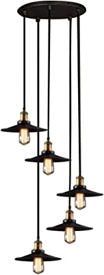 BAYCHEER HL370828 Black Metal Shaded Industrial Multi-Light Pendant Lights Hanging Lighting with Round Canopy use 5 E26 Light Bulbs