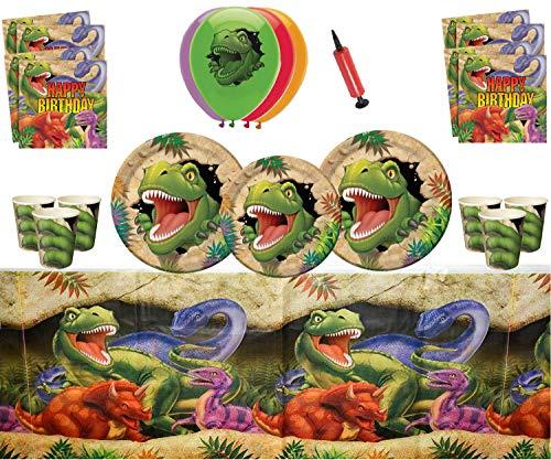 ASINArtículos para fiestas de dinosaurios Celebraciones de feliz cumpleaños de Dino Blast 16 invitados: vajilla de dinosaurios, globos de Dino impresos