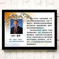 ポスター アートポスター A3 Bill Gates (17) ポスター A3 映画 ター キャンバスアート 玄関 木製 部屋飾り 30cm x 20cm フレーム ブラック