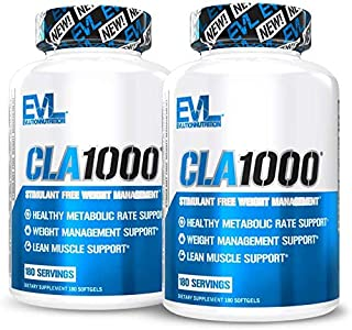 Evlution Nutrition CLA 1000, Conjugated Linoleic Acid, Weight Loss Supplement, Metabolism Support, Stimulant-Free (360 Ser...