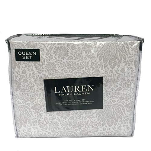 Lauren Queen Sheet Set 4 Pc Gray White Medallion Floral French Country Paisley Leaves Vines Cotton Bedding