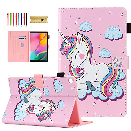 Galaxy Tab A 10.1 2019 Case SM-T510, Dteck Tablet Cover for Samsung Tab A 10.1 2019, Slim Fit Leather Folio Stand Smart Shell Protective Case for Samsung Tab A 10.1 SM-T510, Pink Unicorn