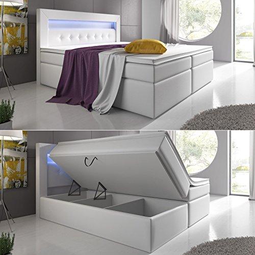 Wohnen-Luxus Boxspringbett Weiß 180x200 mit Bettkasten LED Kopflicht Hotelbett Venedig Lift
