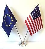 Europäische Charm Tasche UK England Union Großbritannien EU & Case USA Amerika Flagge Chrom und satiniertes Tisch Computertisch Fahne Flag Set