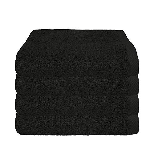 Supertoll Handtuch Schwarz 4er Sparpack, 100% Baumwolle 4x Handtücher 50x100 cm Farbe Schwarz