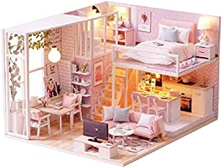 DIY Miniature Loft Dollhouse Kit Realistic Mini 3D Pink Wooden House Room Toy with Furniture LED Lights Christmas Children...