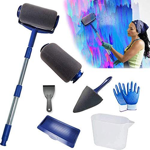 Farbroller Set - 8 Stücke Malerrolle mit Sticks, Nahtlose Multifunktionale Haus Malerset für Heimschule und Büro Malerei Wand Decke (blue)