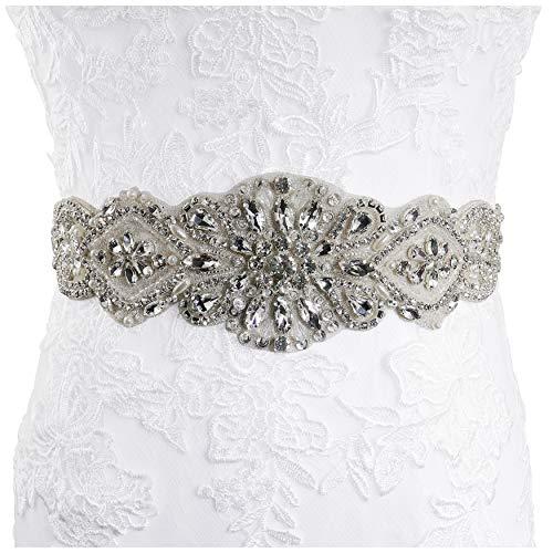 Lovful Womens Rhinestone Sash Belts for Dresses Bridal Belt Crystal Wedding Bridesmaid Belt,Ivory